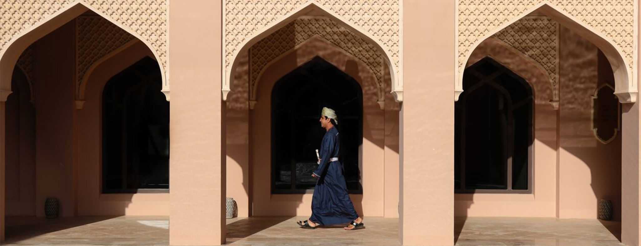 Traditional Omani walking in National Dress